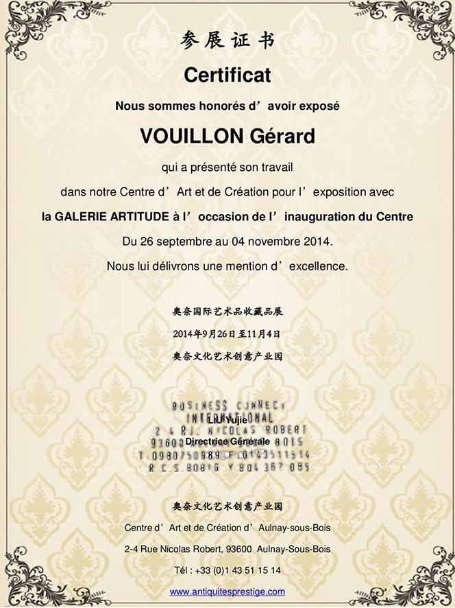Certificat centre d art d aulnay sous bois